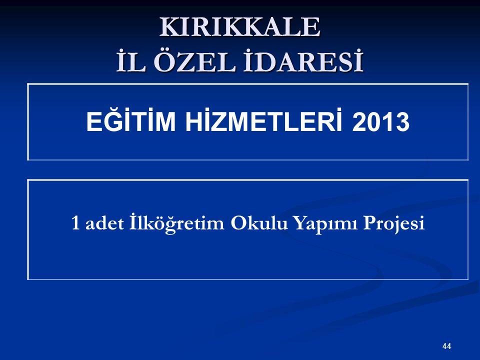 KIRIKKALE İL ÖZEL İDARESİ 1 adet İlköğretim Okulu Yapımı Projesi 44 EĞİTİM HİZMETLERİ 2013