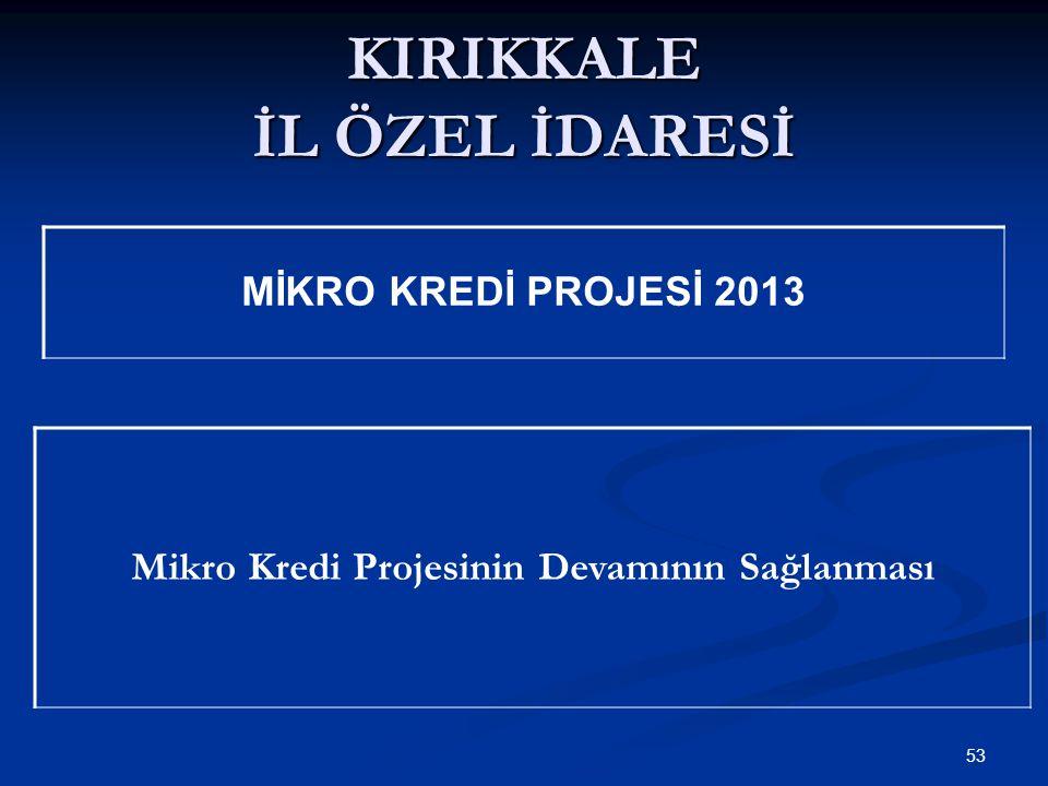 KIRIKKALE İL ÖZEL İDARESİ 53 MİKRO KREDİ PROJESİ 2013 Mikro Kredi Projesinin Devamının Sağlanması