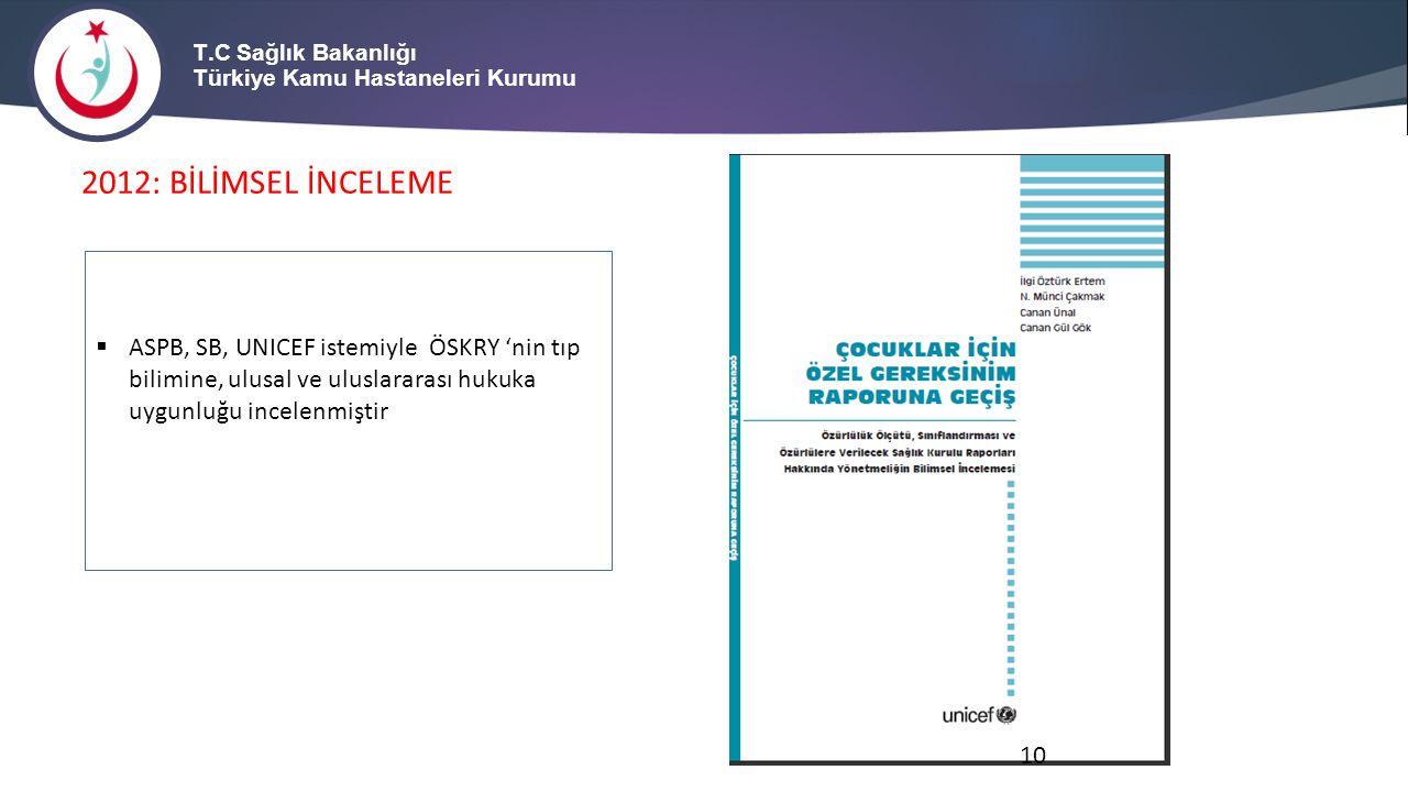 T.C Sağlık Bakanlığı Türkiye Kamu Hastaneleri Kurumu 2012: BİLİMSEL İNCELEME  ASPB, SB, UNICEF istemiyle ÖSKRY 'nin tıp bilimine, ulusal ve uluslarar