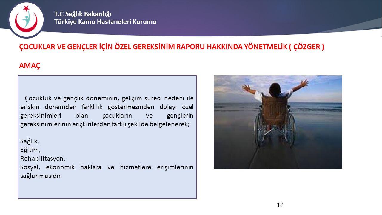 T.C Sağlık Bakanlığı Türkiye Kamu Hastaneleri Kurumu ÇOCUKLAR VE GENÇLER İÇİN ÖZEL GEREKSİNİM RAPORU HAKKINDA YÖNETMELİK ( ÇÖZGER ) AMAÇ Çocukluk ve g