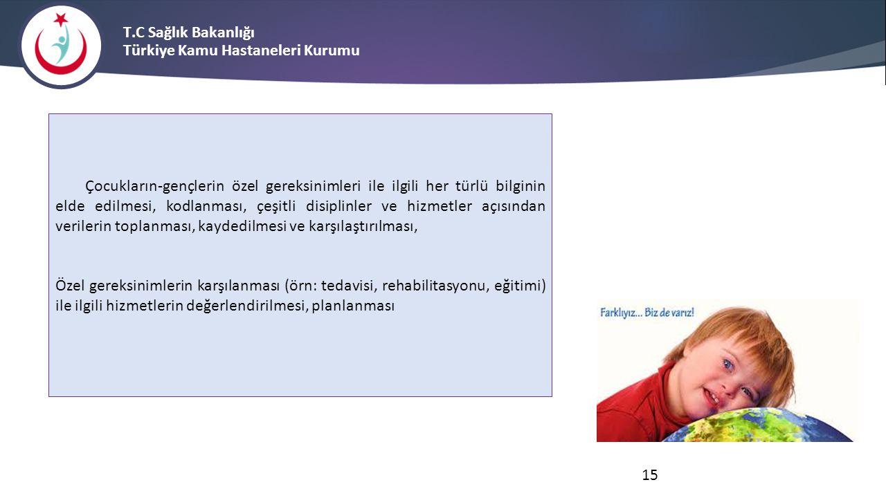 T.C Sağlık Bakanlığı Türkiye Kamu Hastaneleri Kurumu Çocukların-gençlerin özel gereksinimleri ile ilgili her türlü bilginin elde edilmesi, kodlanması,