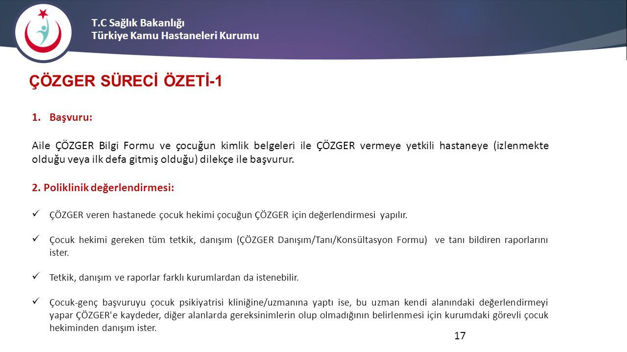 T.C Sağlık Bakanlığı Türkiye Kamu Hastaneleri Kurumu ÇÖZGER SÜRECİ ÖZETİ-1 1.Başvuru: Aile ÇÖZGER Bilgi Formu ve çocuğun kimlik belgeleri ile ÇÖZGER v