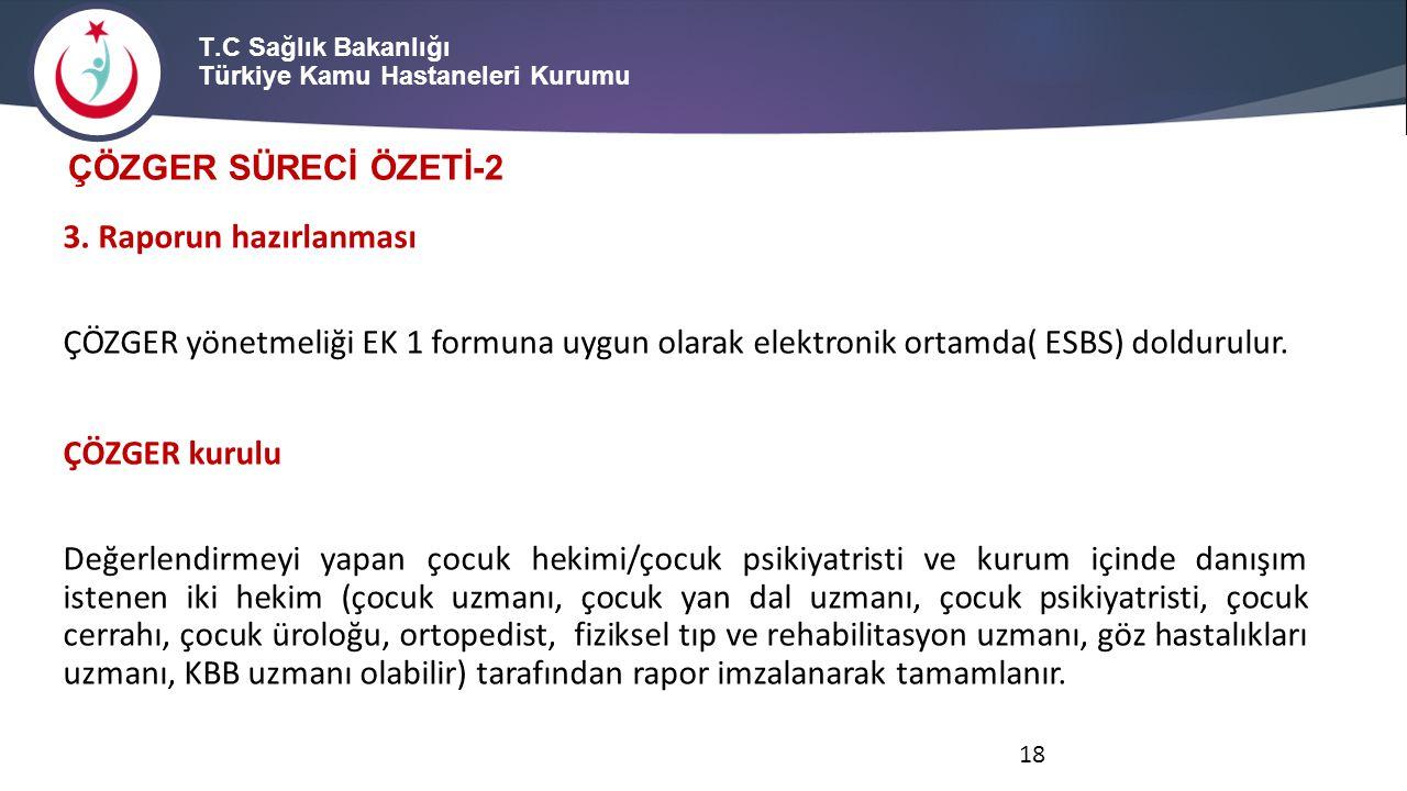 T.C Sağlık Bakanlığı Türkiye Kamu Hastaneleri Kurumu 3. Raporun hazırlanması ÇÖZGER yönetmeliği EK 1 formuna uygun olarak elektronik ortamda( ESBS) do