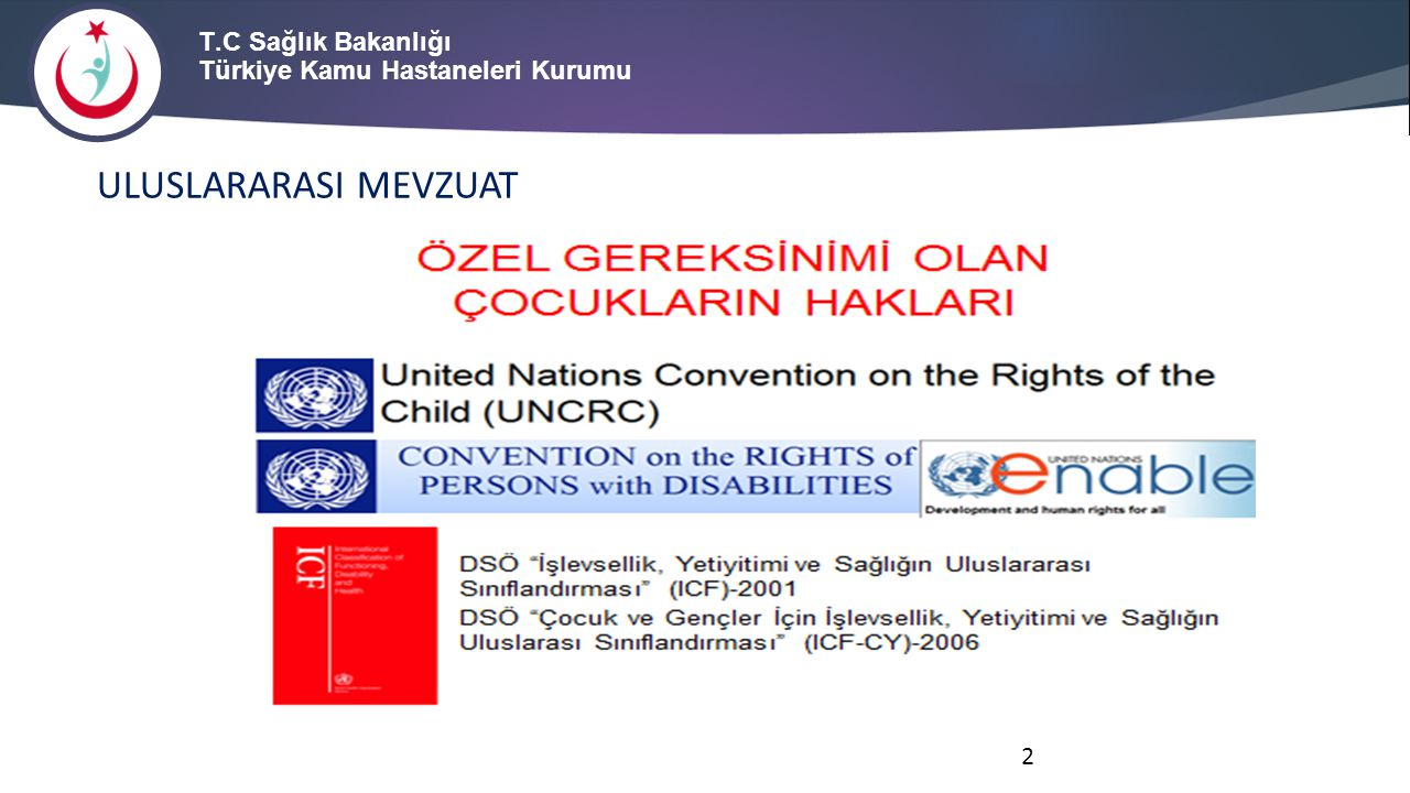 KAPSAM Çocukların-gençlerin özel gereksinimlerine ilişkin sınıflandırma çalışmalarında, Birleşmiş Milletler Engelli Hakları Sözleşmesi ve Birleşmiş Milletler Çocuk Hakları Sözleşmesi dayanakları ve Dünya Sağlık Örgütü tarafından ortak standart bir dil ve çerçeve oluşturmak amacı ile geliştirilen ve bireylerin işlevselliği, etkinlikleri, yaşama katılımı ve bu alanlardaki kısıtlılıklarının tanımlanmasını sağlayan çok kapsamlı uluslararası bir sınıflandırma sistemi olan Dünya Sağlık Örgütü İşlevsellik Yetiyitimi ve Sağlığın Uluslararası Sınıflandırması Çocuk ve Genç Versiyonu (International Classification of Functioning Disability and Health, Children and Youth Version-ICFCY) esas alınır.