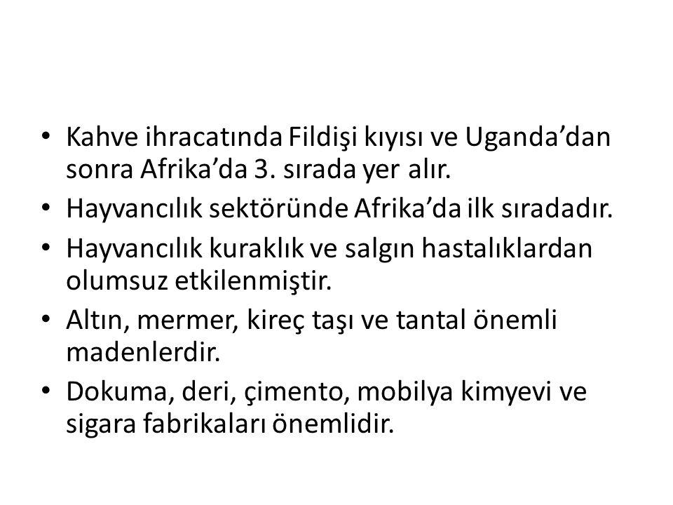 Kahve ihracatında Fildişi kıyısı ve Uganda'dan sonra Afrika'da 3.