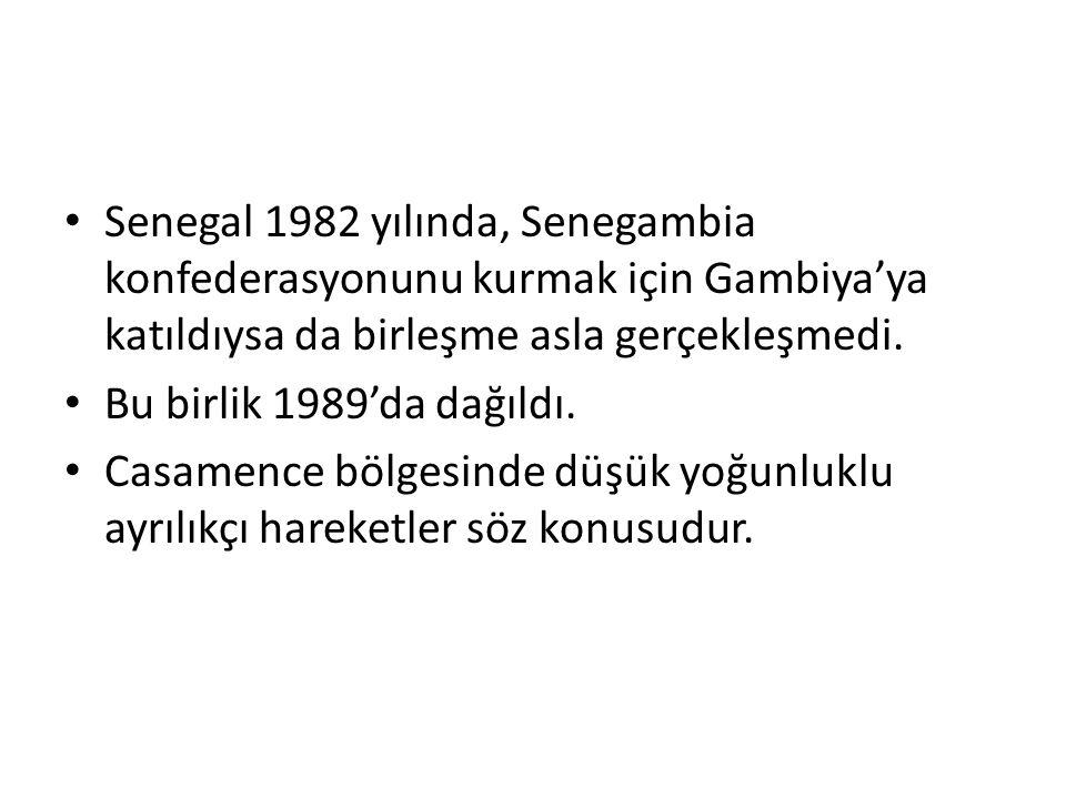 Senegal 1982 yılında, Senegambia konfederasyonunu kurmak için Gambiya'ya katıldıysa da birleşme asla gerçekleşmedi.