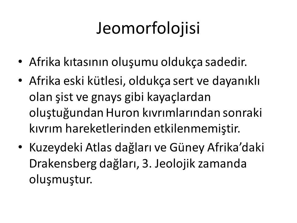 Jeomorfolojisi Afrika kıtasının oluşumu oldukça sadedir.