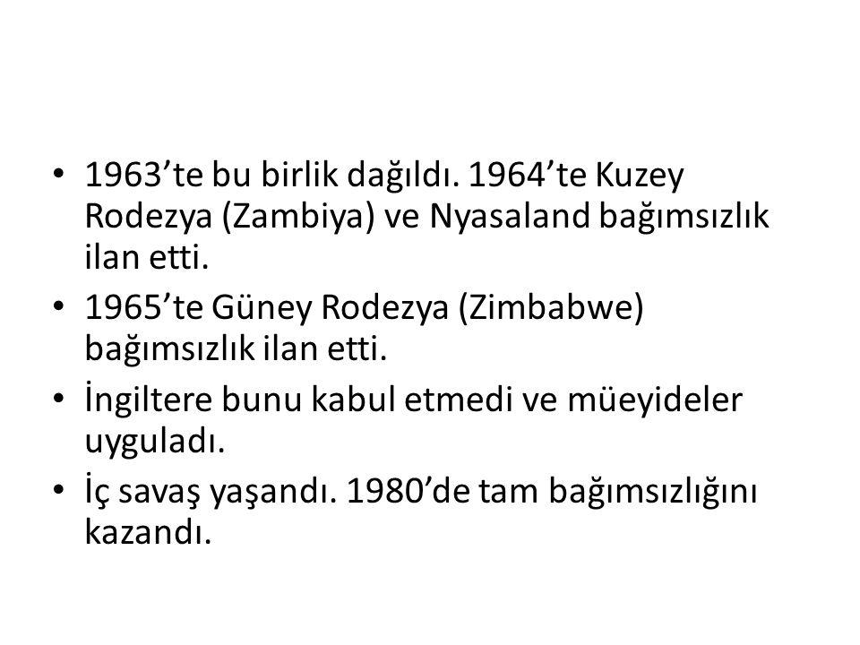 1963'te bu birlik dağıldı.1964'te Kuzey Rodezya (Zambiya) ve Nyasaland bağımsızlık ilan etti.