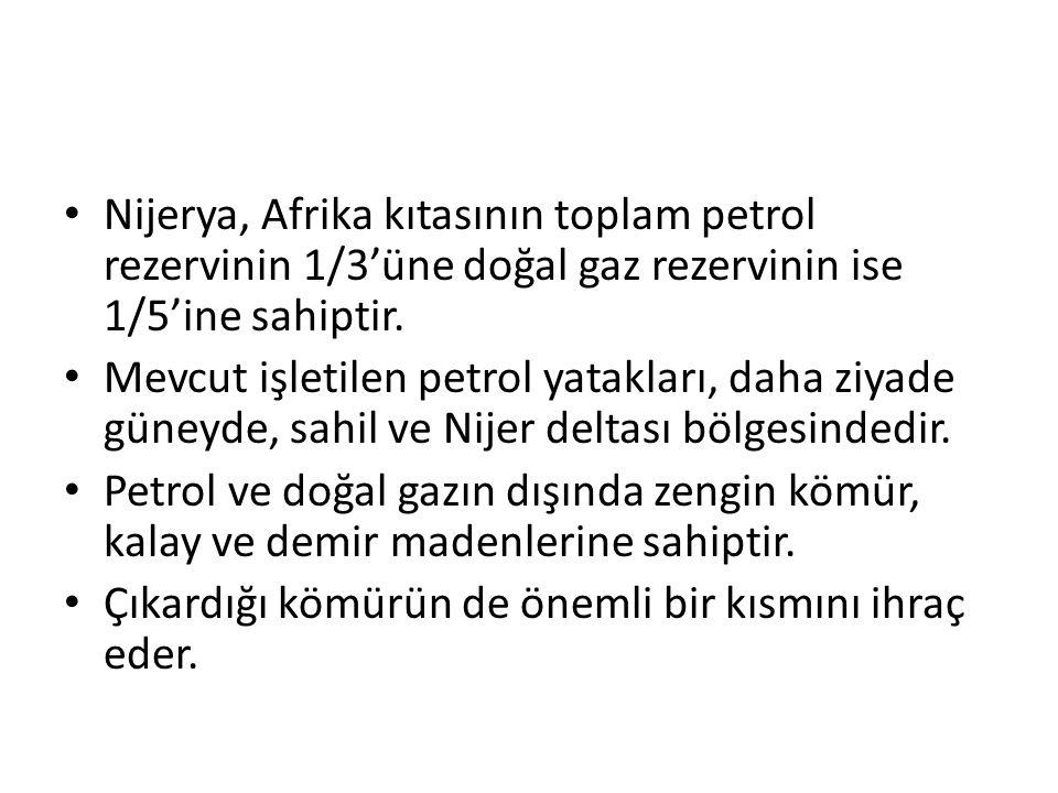 Nijerya, Afrika kıtasının toplam petrol rezervinin 1/3'üne doğal gaz rezervinin ise 1/5'ine sahiptir.