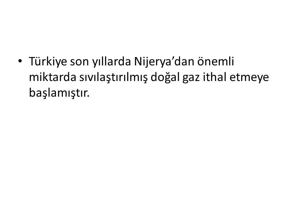 Türkiye son yıllarda Nijerya'dan önemli miktarda sıvılaştırılmış doğal gaz ithal etmeye başlamıştır.