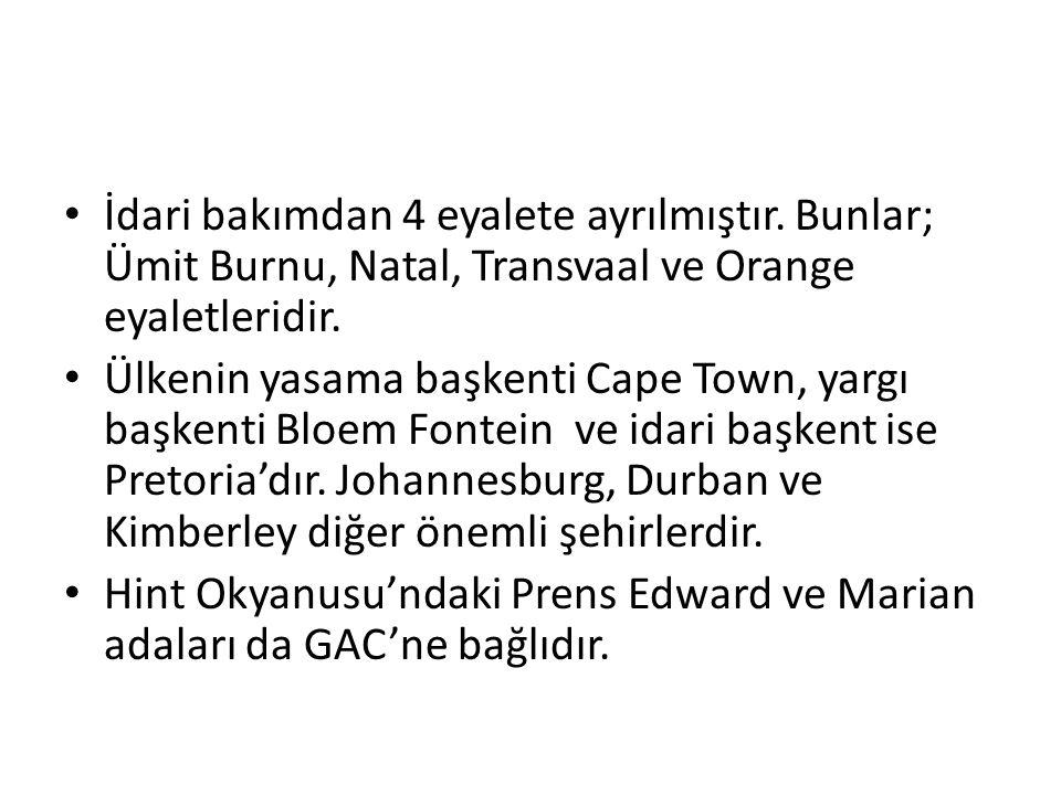 İdari bakımdan 4 eyalete ayrılmıştır.Bunlar; Ümit Burnu, Natal, Transvaal ve Orange eyaletleridir.