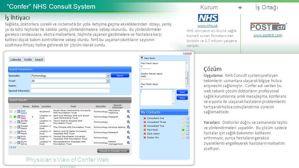 """Kurumİş Ortağı + """"Confer"""" NHS Consult System İş İhtiyacı Sağlıkta, doktorlara sürekli ve sistematik bir yolla iletişime geçme eksikliklerinden dolayı,"""