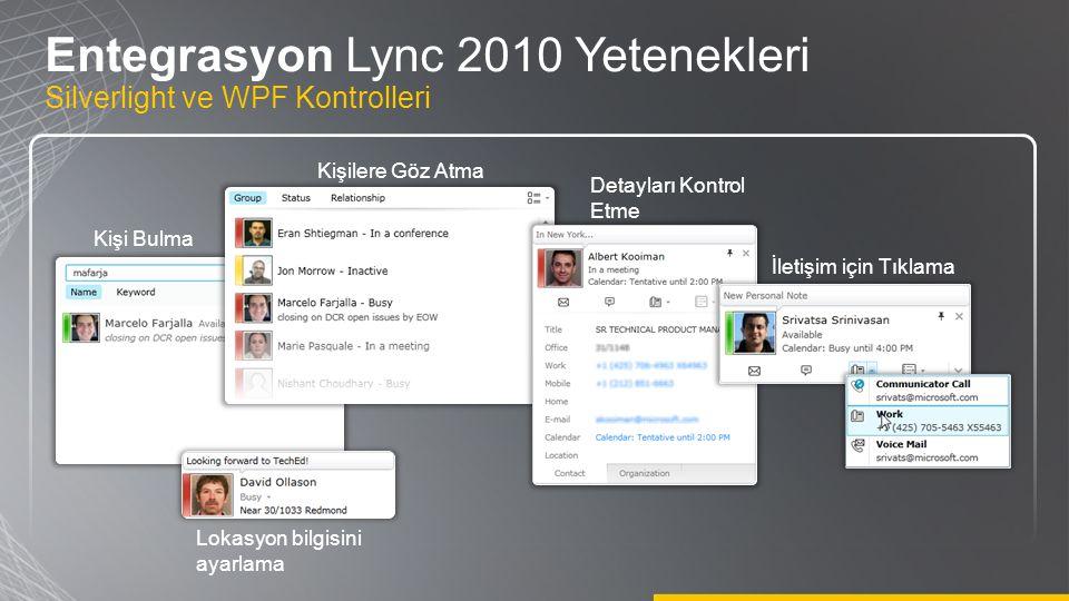 Kişi Bulma Kişilere Göz Atma Detayları Kontrol Etme İletişim için Tıklama Lokasyon bilgisini ayarlama Entegrasyon Lync 2010 Yetenekleri Silverlight ve
