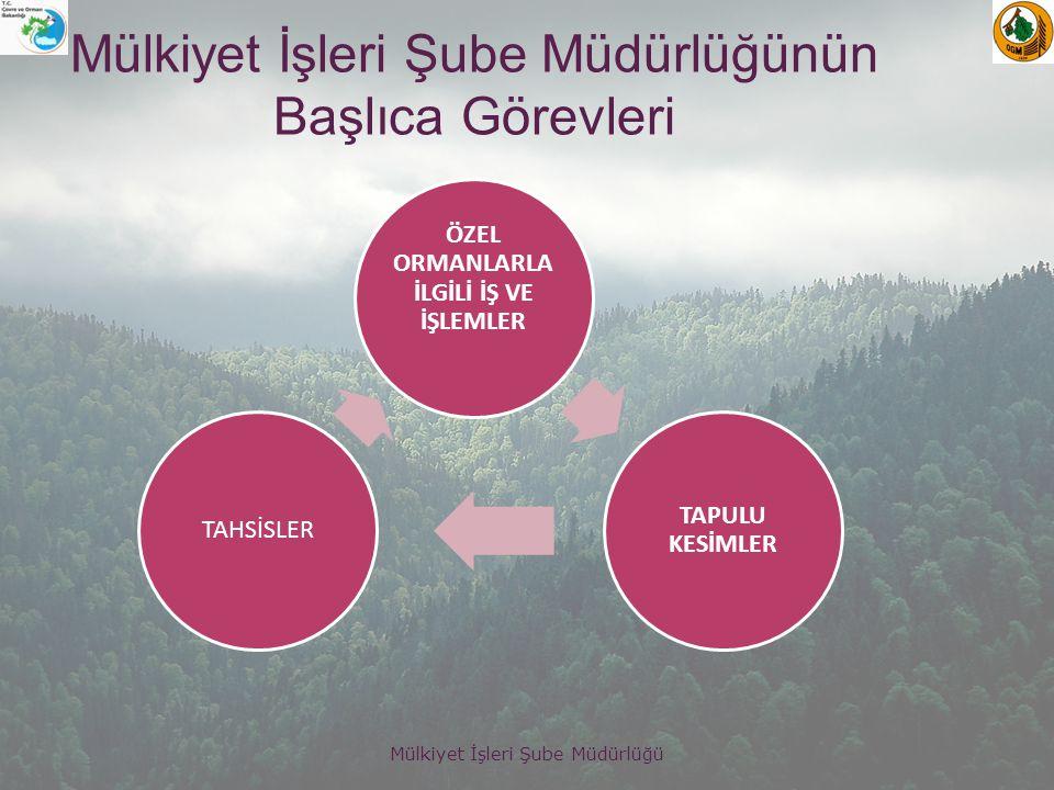 Mülkiyet İşleri Şube Müdürlüğü Mülkiyet İşleri Şubesi olarak Sahipli (Özel) Orman verileri Hazineden alınan tahsisli alan verileri sayısal ve sözel olarak Orman Kadastro sistemine (ORKABİS) girilmektedir.