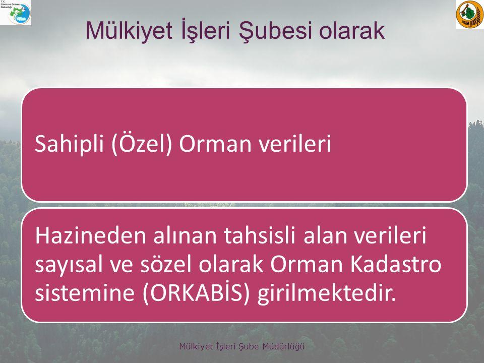 Mülkiyet İşleri Şube Müdürlüğü Türkiye genelinde toplam 395 adet özel ormanın toplam alanı 179.875.007 m2 dir.