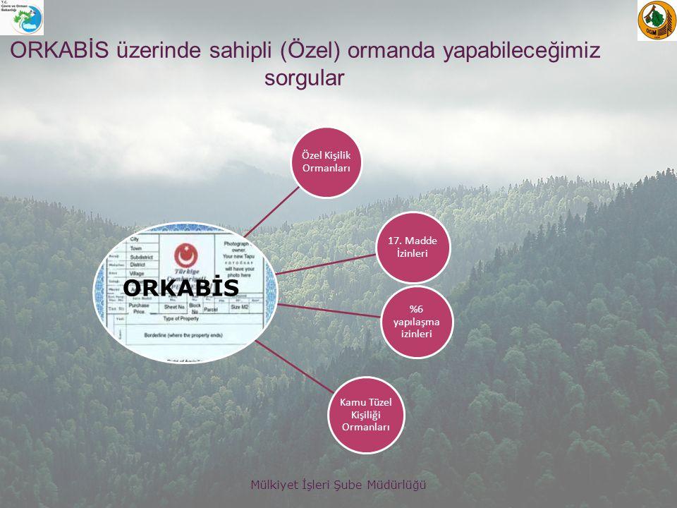 Mülkiyet İşleri Şube Müdürlüğü ORKABİS üzerinde sahipli (Özel) ormanda yapabileceğimiz sorgular Özel Kişilik Ormanları 17.