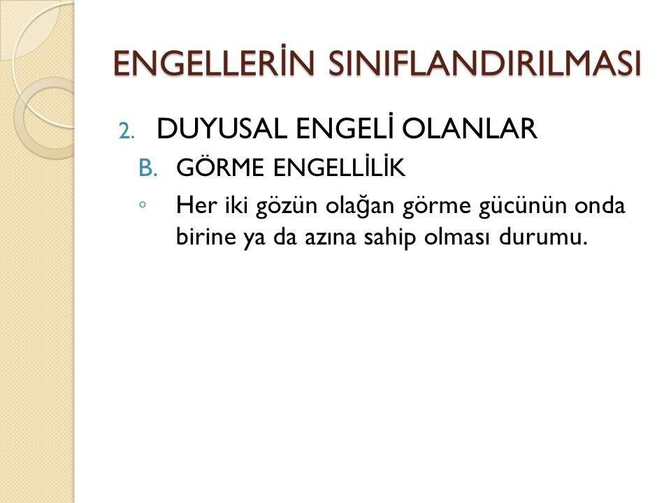 ENGELLER İ N SINIFLANDIRILMASI 2.