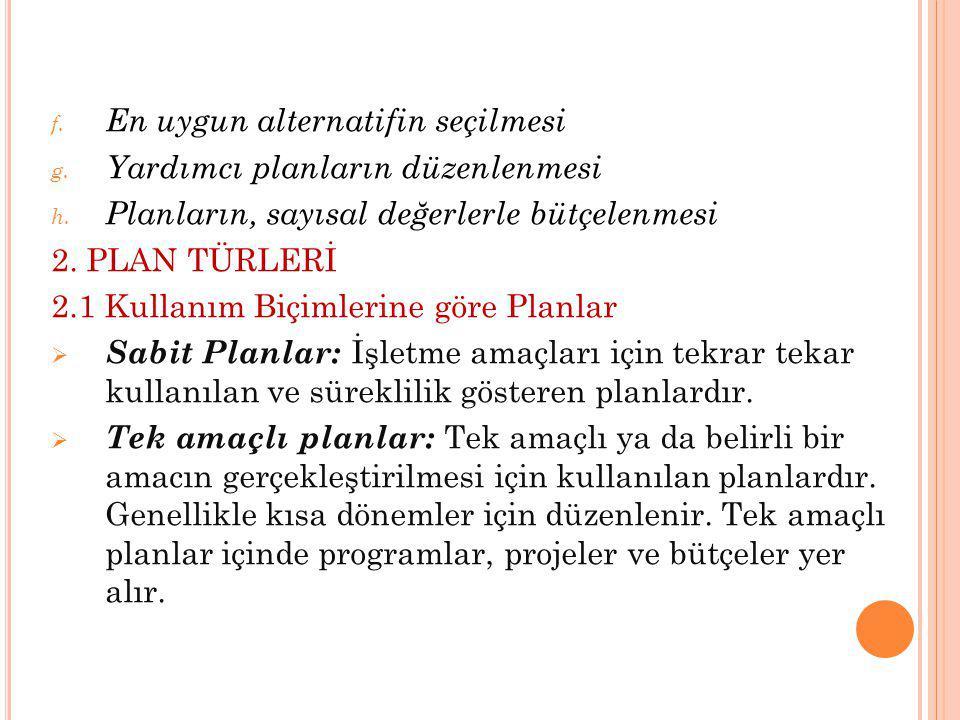 f. En uygun alternatifin seçilmesi g. Yardımcı planların düzenlenmesi h. Planların, sayısal değerlerle bütçelenmesi 2. PLAN TÜRLERİ 2.1 Kullanım Biçim