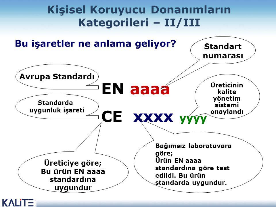 Üreticinin kalite yönetim sistemi onaylandı Bağımsız laboratuvara göre; Ürün EN aaaa standardına göre test edildi. Bu ürün standarda uygundur. Bu işar