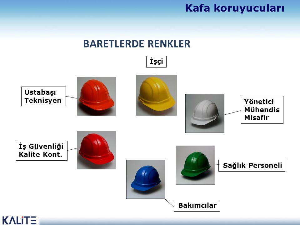 BARETLERDE RENKLER Yönetici Mühendis Misafir İşçi Sağlık Personeli İş Güvenliği Kalite Kont.