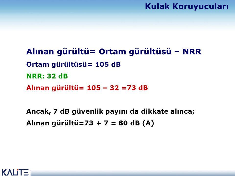 Alınan gürültü= Ortam gürültüsü – NRR Ortam gürültüsü= 105 dB NRR: 32 dB Alınan gürültü= 105 – 32 =73 dB Ancak, 7 dB güvenlik payını da dikkate alınca; Alınan gürültü=73 + 7 = 80 dB (A) Kulak Koruyucuları