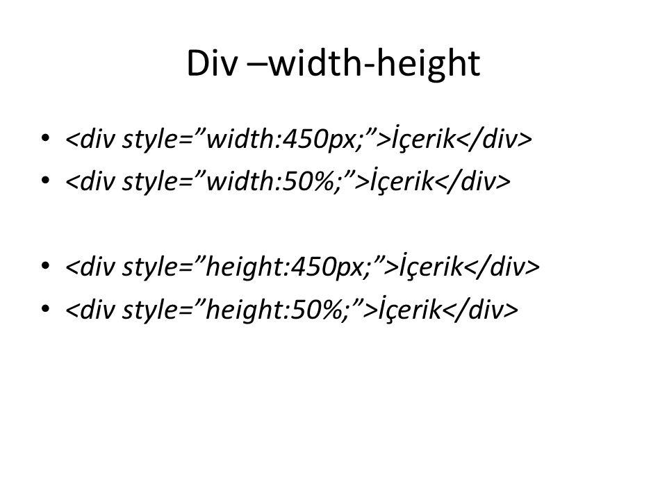 Div –width-height İçerik