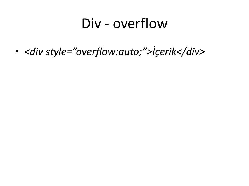 Div - overflow İçerik
