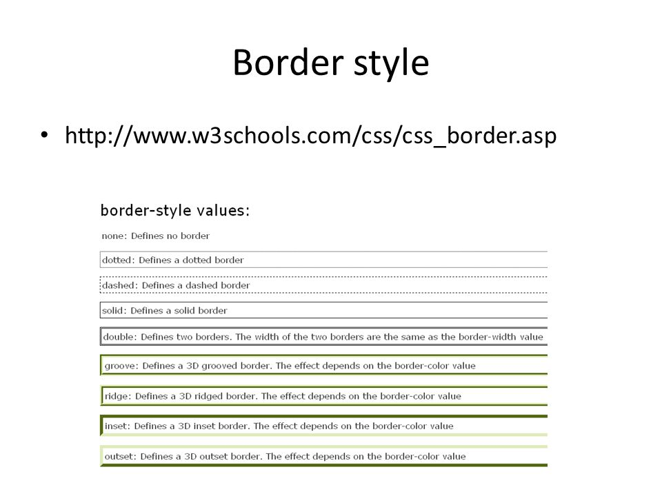 Border style http://www.w3schools.com/css/css_border.asp