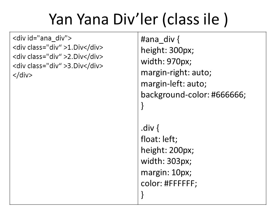 Yan Yana Div'ler (class ile ) 1.Div 2.Div 3.Div #ana_div { height: 300px; width: 970px; margin-right: auto; margin-left: auto; background-color: #666666; }.div { float: left; height: 200px; width: 303px; margin: 10px; color: #FFFFFF; }