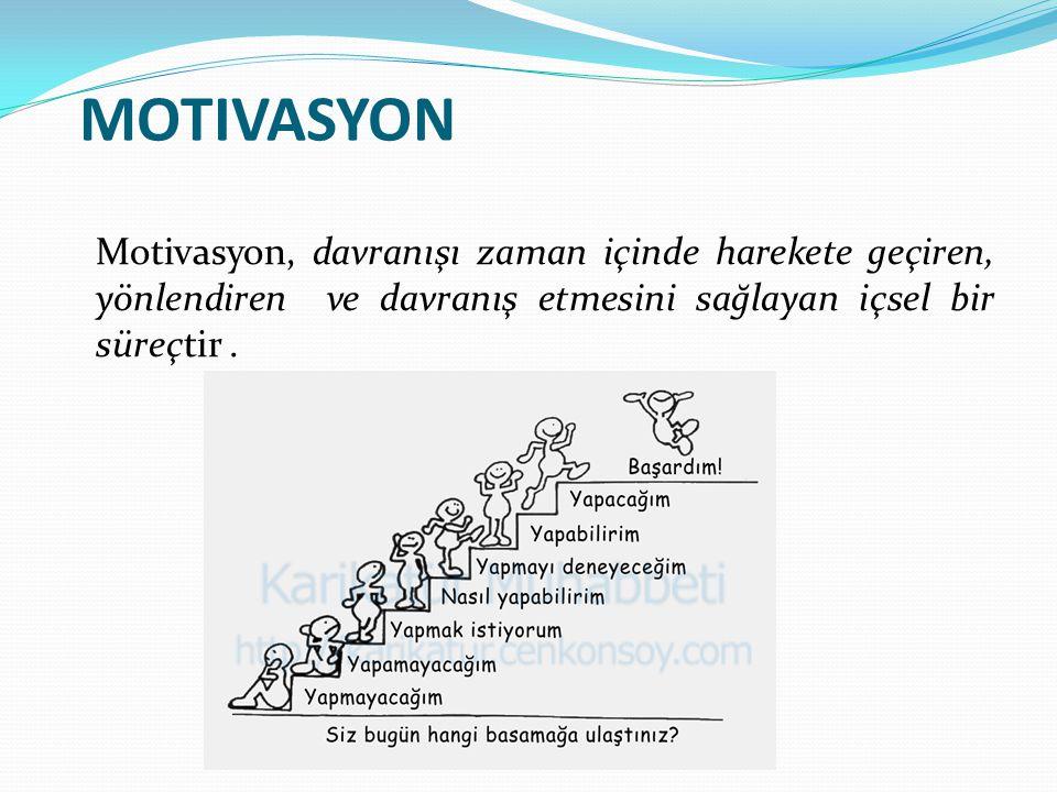MOTIVASYON Motivasyon, davranışı zaman içinde harekete geçiren, yönlendiren ve davranış etmesini sağlayan içsel bir süreçtir.