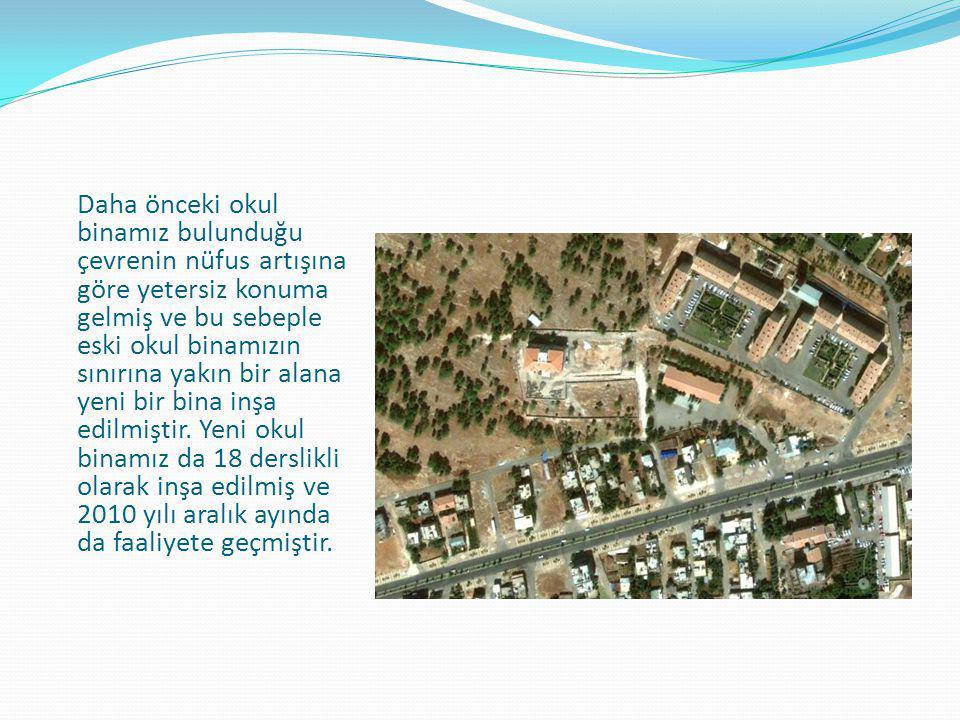 Daha önceki okul binamız bulunduğu çevrenin nüfus artışına göre yetersiz konuma gelmiş ve bu sebeple eski okul binamızın sınırına yakın bir alana yeni