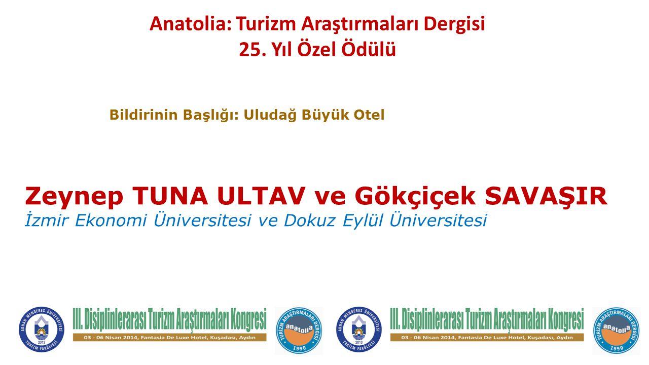 Anatolia: Turizm Araştırmaları Dergisi 25.