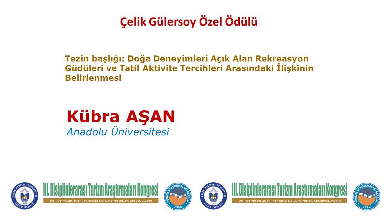 Kübra AŞAN Anadolu Üniversitesi Tezin başlığı: Doğa Deneyimleri Açık Alan Rekreasyon Güdüleri ve Tatil Aktivite Tercihleri Arasındaki İlişkinin Belirl