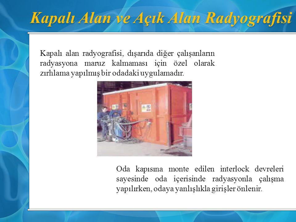 Kapalı Alan ve Açık Alan Radyografisi Kapalı alan radyografisi, dışarıda diğer çalışanların radyasyona maruz kalmaması için özel olarak zırhlama yapıl