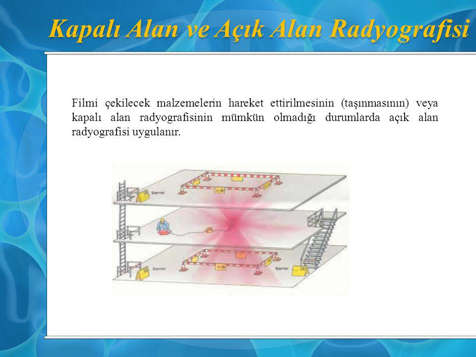 Kapalı Alan ve Açık Alan Radyografisi Filmi çekilecek malzemelerin hareket ettirilmesinin (taşınmasının) veya kapalı alan radyografisinin mümkün olmad