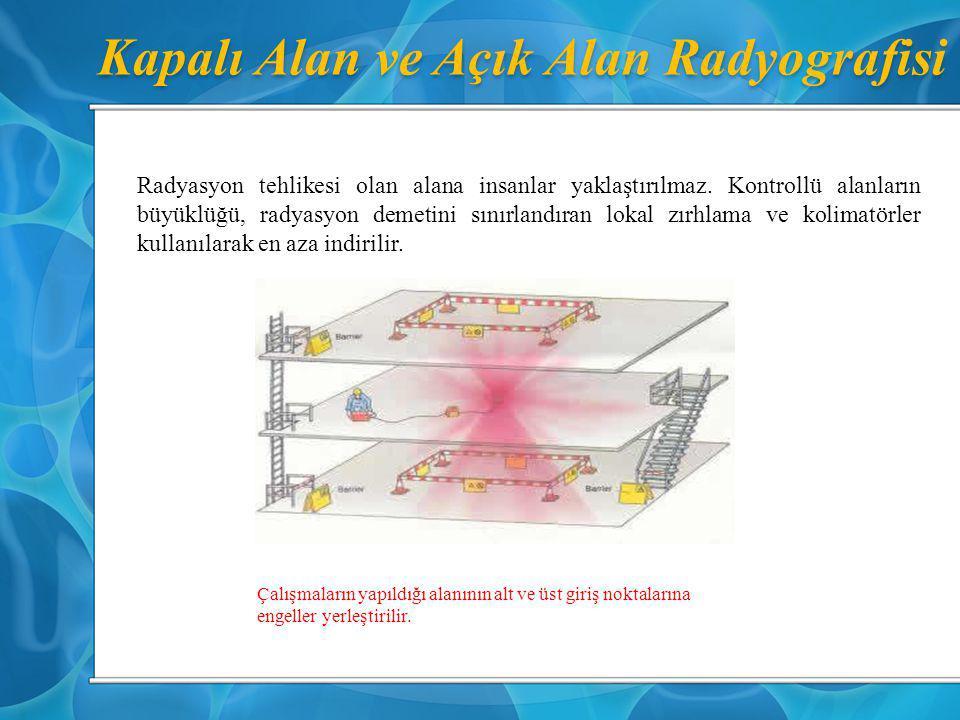 Kapalı Alan ve Açık Alan Radyografisi Radyasyon tehlikesi olan alana insanlar yaklaştırılmaz. Kontrollü alanların büyüklüğü, radyasyon demetini sınırl