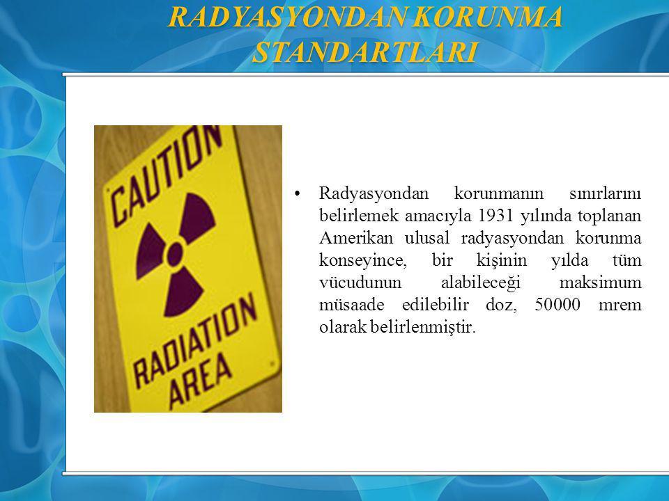 RADYASYONDAN KORUNMA STANDARTLARI Radyasyondan korunmanın sınırlarını belirlemek amacıyla 1931 yılında toplanan Amerikan ulusal radyasyondan korunma k