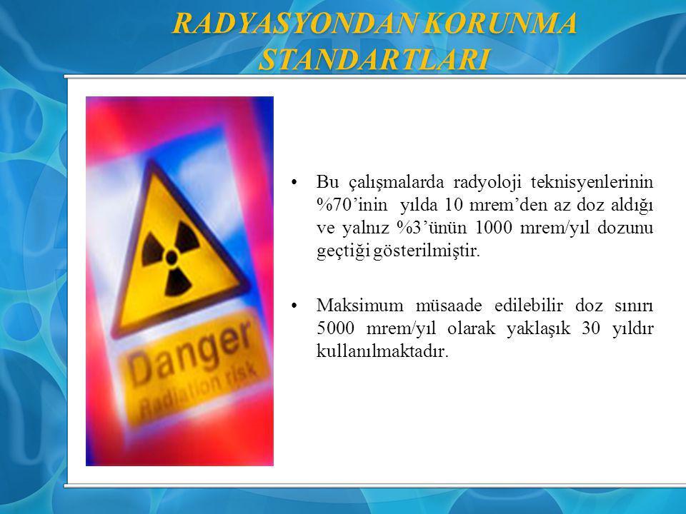RADYASYONDAN KORUNMA STANDARTLARI Bu çalışmalarda radyoloji teknisyenlerinin %70'inin yılda 10 mrem'den az doz aldığı ve yalnız %3'ünün 1000 mrem/yıl