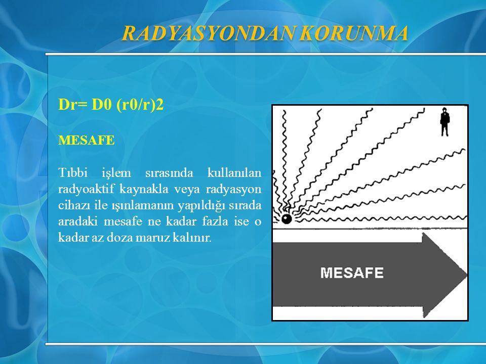 RADYASYONDAN KORUNMA Dr= D0 (r0/r)2 MESAFE Tıbbi işlem sırasında kullanılan radyoaktif kaynakla veya radyasyon cihazı ile ışınlamanın yapıldığı sırada