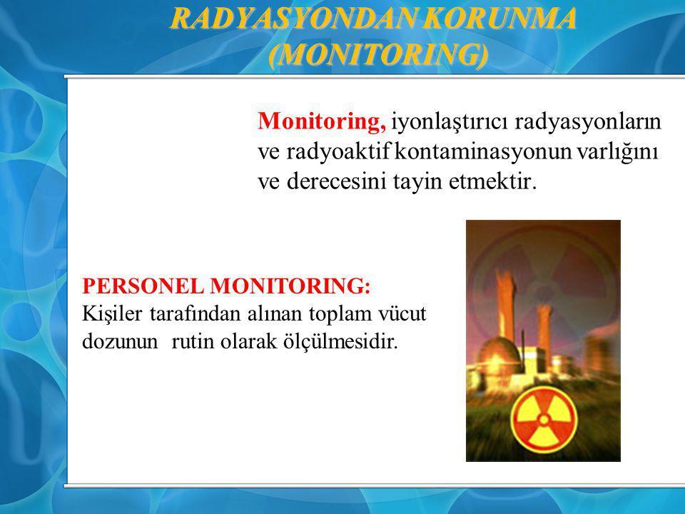 RADYASYONDAN KORUNMA (MONITORING) Monitoring, iyonlaştırıcı radyasyonların ve radyoaktif kontaminasyonun varlığını ve derecesini tayin etmektir. PERSO