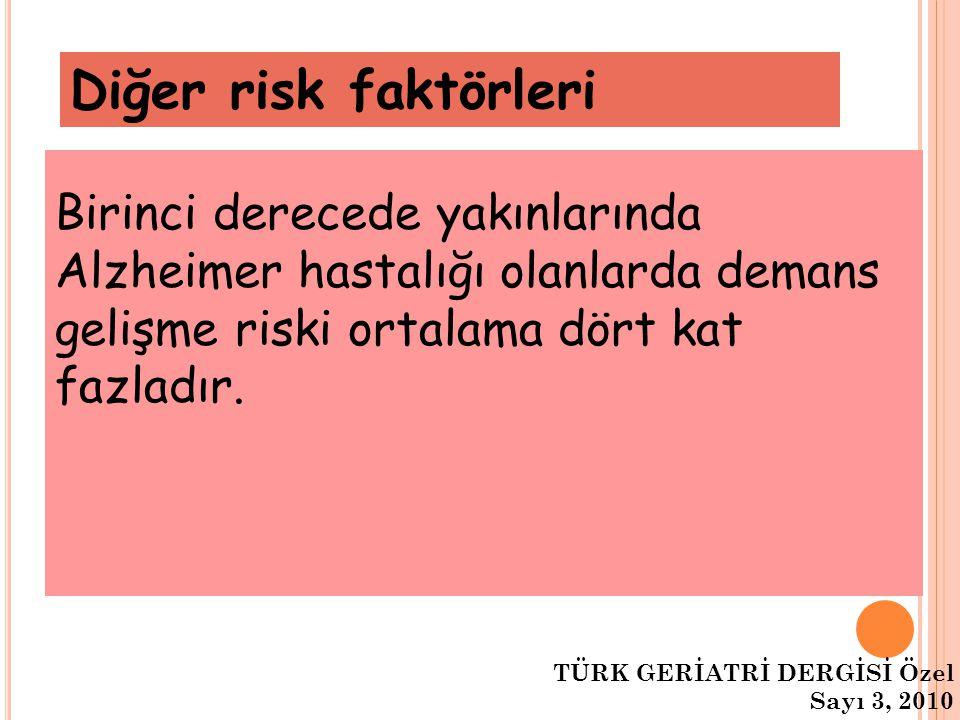 Diğer risk faktörleri Birinci derecede yakınlarında Alzheimer hastalığı olanlarda demans gelişme riski ortalama dört kat fazladır. TÜRK GERİATRİ DERGİ