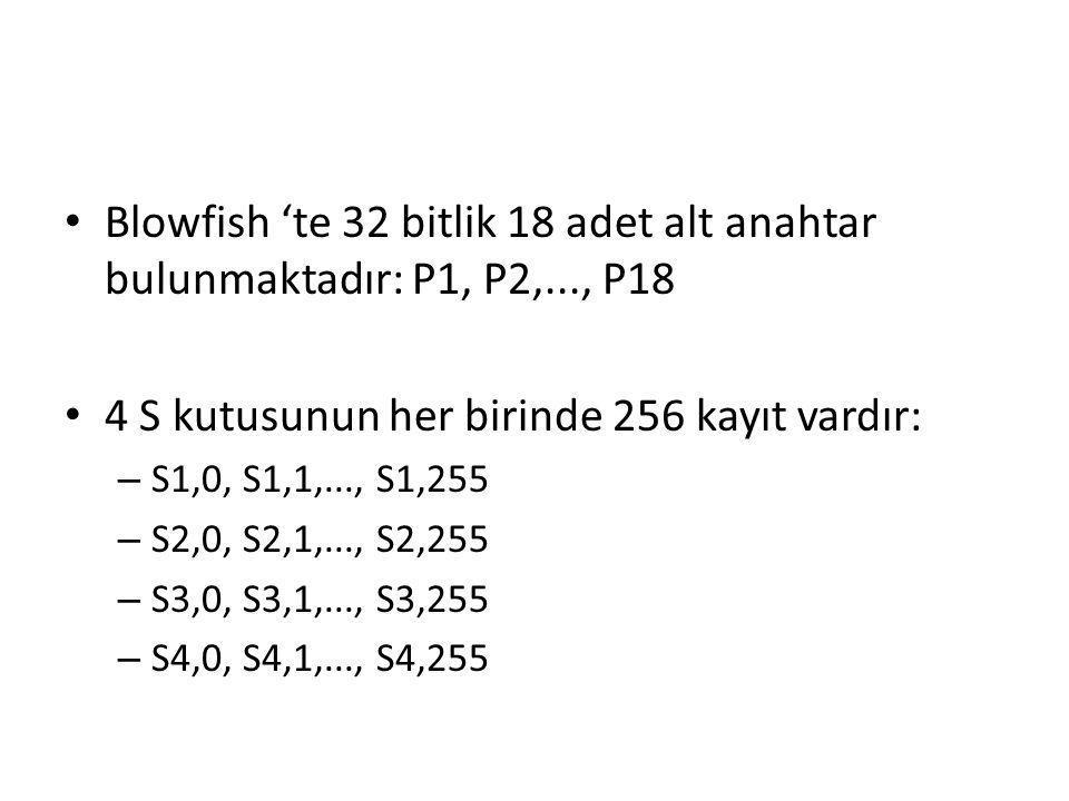 Blowfish 'te 32 bitlik 18 adet alt anahtar bulunmaktadır: P1, P2,..., P18 4 S kutusunun her birinde 256 kayıt vardır: – S1,0, S1,1,..., S1,255 – S2,0,