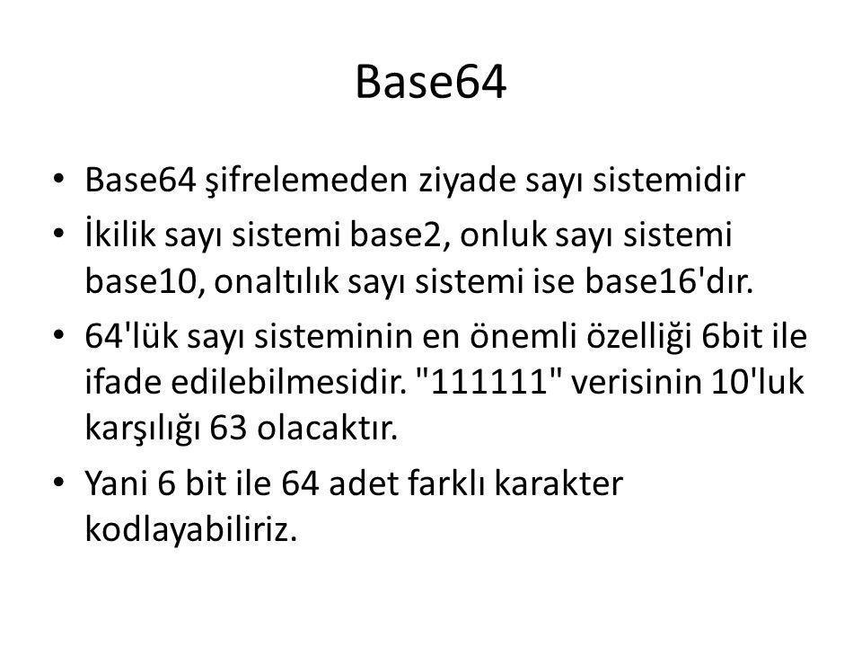 Base64 Base64 şifrelemeden ziyade sayı sistemidir İkilik sayı sistemi base2, onluk sayı sistemi base10, onaltılık sayı sistemi ise base16'dır. 64'lük