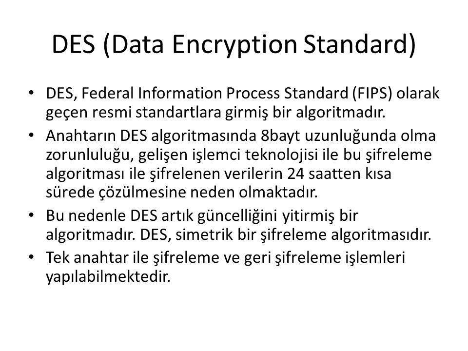 DES (Data Encryption Standard) DES, Federal Information Process Standard (FIPS) olarak geçen resmi standartlara girmiş bir algoritmadır. Anahtarın DES