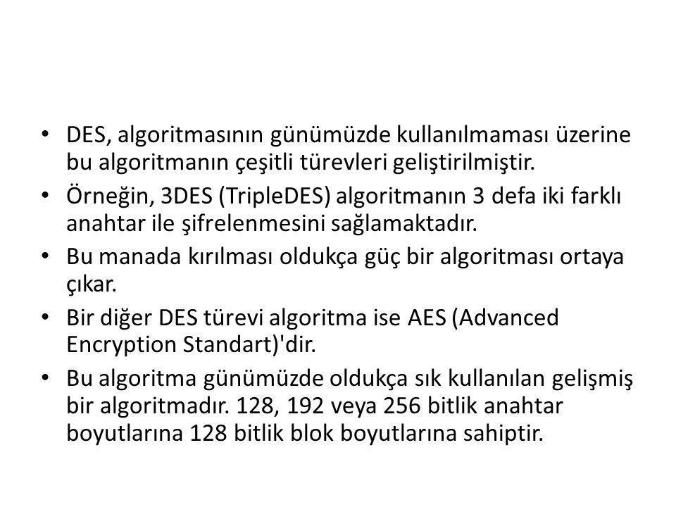 DES, algoritmasının günümüzde kullanılmaması üzerine bu algoritmanın çeşitli türevleri geliştirilmiştir. Örneğin, 3DES (TripleDES) algoritmanın 3 defa