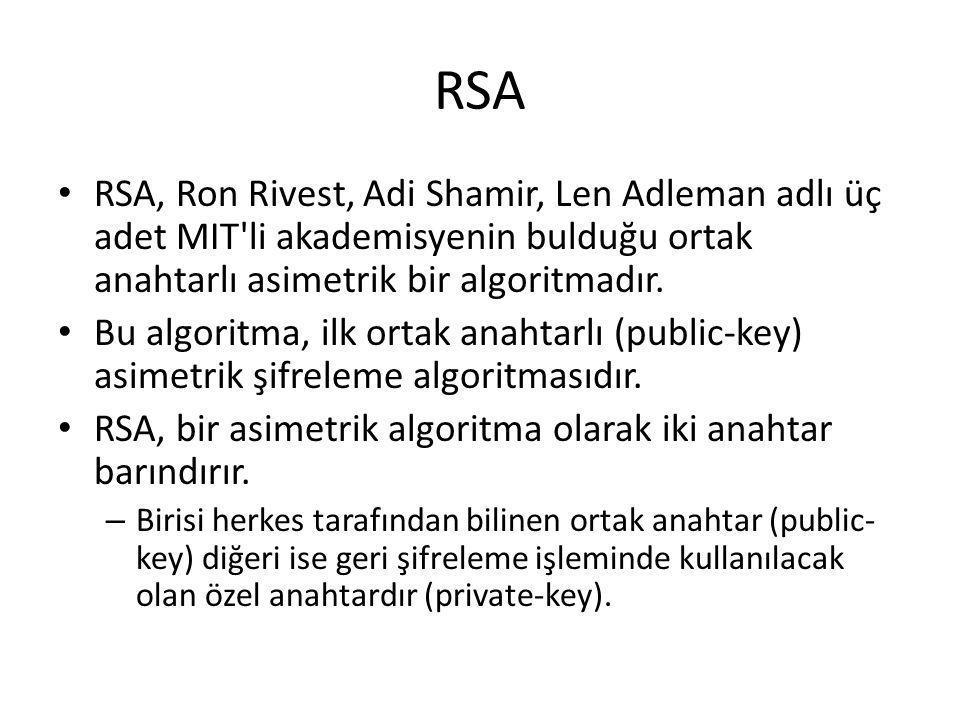 RSA RSA, Ron Rivest, Adi Shamir, Len Adleman adlı üç adet MIT'li akademisyenin bulduğu ortak anahtarlı asimetrik bir algoritmadır. Bu algoritma, ilk o