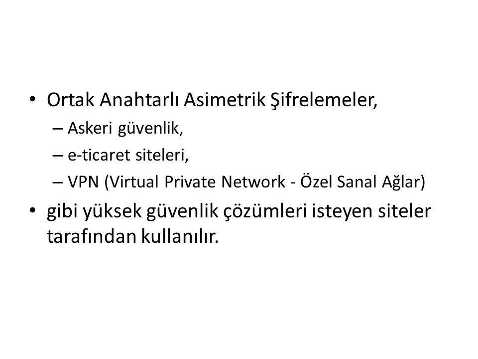 Ortak Anahtarlı Asimetrik Şifrelemeler, – Askeri güvenlik, – e-ticaret siteleri, – VPN (Virtual Private Network - Özel Sanal Ağlar) gibi yüksek güvenl