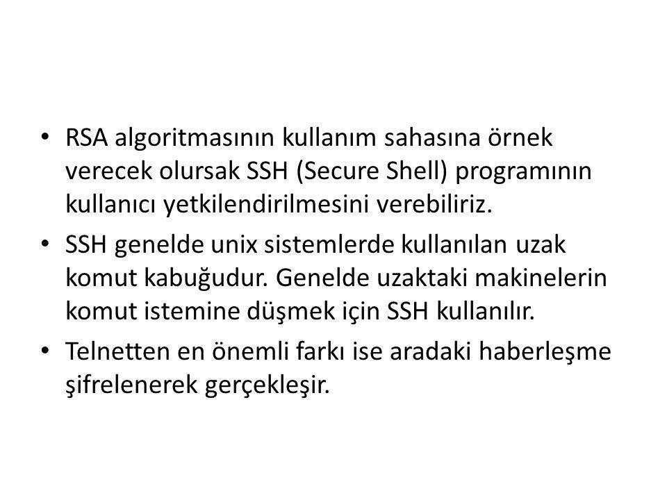 RSA algoritmasının kullanım sahasına örnek verecek olursak SSH (Secure Shell) programının kullanıcı yetkilendirilmesini verebiliriz. SSH genelde unix