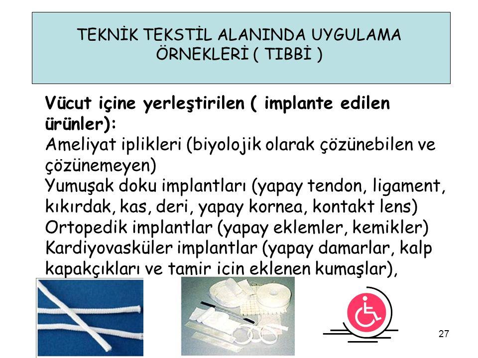 TEKNİK TEKSTİL ALANINDA UYGULAMA ÖRNEKLERİ ( TIBBİ ) Vücut içine yerleştirilen ( implante edilen ürünler): Ameliyat iplikleri (biyolojik olarak çözüne