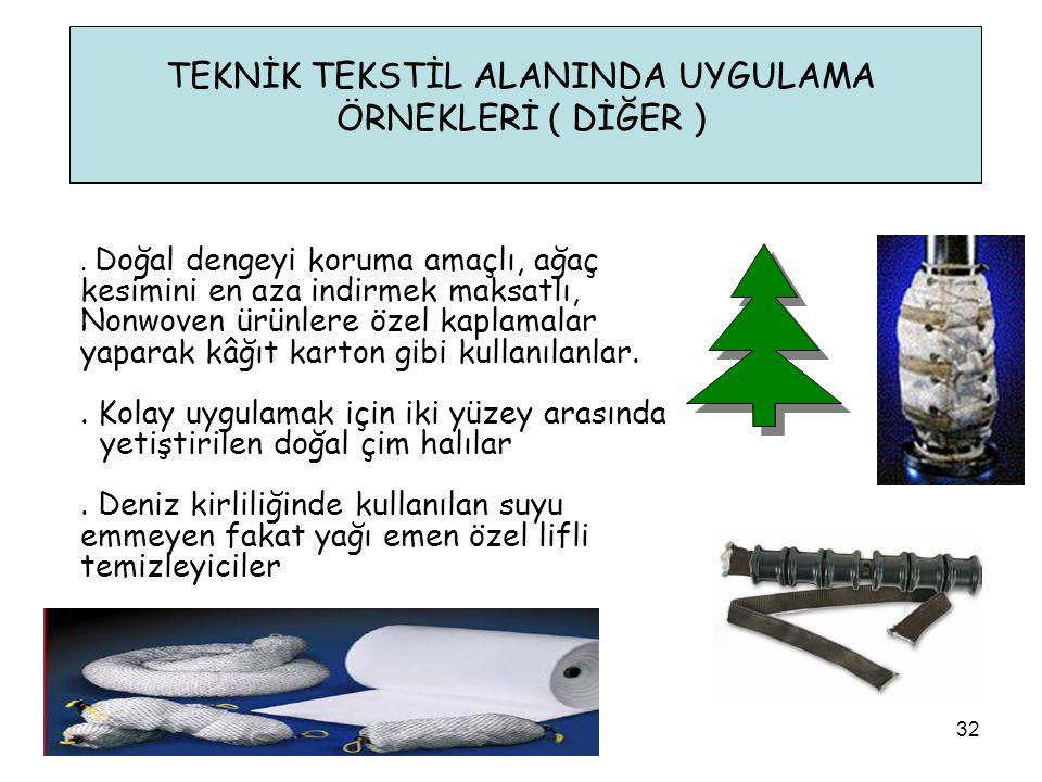 TEKNİK TEKSTİL ALANINDA UYGULAMA ÖRNEKLERİ ( DİĞER ) 32. Doğal dengeyi koruma amaçlı, ağaç kesimini en aza indirmek maksatlı, Nonwoven ürünlere özel k